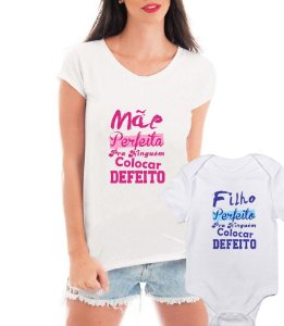 T-shirt Feminina Branca Dia Das Mães Mãe Perfeita Filho Perfeito Body branco - Personalizadas/ Customizadas/ Estampadas/ Camiseteria/ Estamparia/ Estampar/ Personalizar/ Customizar/ Criar/ Camisa Blusas Baratas Modelos Legais Loja Online