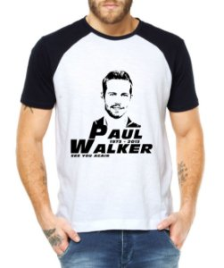 Camiseta Raglan Ator Paul Walker Velozes e Furiosos Morte Luto - Personalizadas/ Customizadas/ Estampadas/ Camiseteria/ Estamparia/ Estampar/ Personalizar/ Customizar/ Criar/ Camisa Blusas Baratas Modelos Legais Loja Online