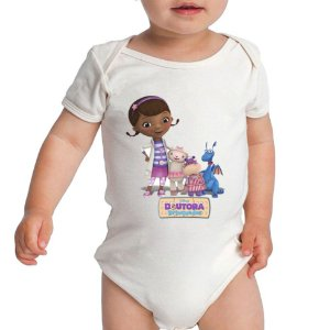 Frente Body Branco Doutora Brinquedos - Roupinhas Macacão Infantil Bodies Roupa Manga Longa Menino Menina Personalizados