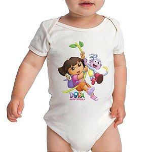 Modelo Body Branco Desenho Dora a Aventureira - Roupinhas Macacão Infantil Bodies Roupa Manga Curta Menino Menina Personalizados