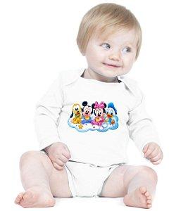 Body Branco Manga Longa Minnie Mickey Pluto Pato Donald Baby - Roupinhas Macacão Infantil Bodies Roupa Manga Longa Menino Menina Personalizados
