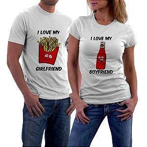 Camiseta Casal Fritas e Catchup Amor Love Namorados - Personalizadas/ Customizadas/ Estampadas/ Camiseteria/ Estamparia/ Estampar/ Personalizar/ Customizar/ Criar/ Camisa Blusas Baratas Modelos Legais Loja Online