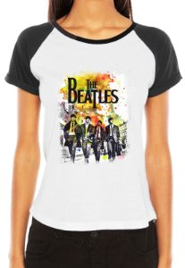 Camiseta Raglan Feminina Banda Rock The Beatles - Personalizadas/ Customizadas/ Estampadas/ Camiseteria/ Estamparia/ Estampar/ Personalizar/ Customizar/ Criar/ Camisa Blusas Baratas Modelos Legais Loja Online