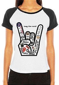 Camiseta Raglan Feminina Bandas de Rock - Personalizadas/ Customizadas/ Estampadas/ Camiseteria/ Estamparia/ Estampar/ Personalizar/ Customizar/ Criar/ Camisa Blusas Baratas Modelos Legais Loja Online