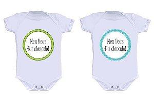 Body Bebe Gemeos Irmãos Clonados Clones Frases Engraçadas - Roupinhas Macacão Infantil Bebe Roupa Manga Curta Menino Menina Personalizados