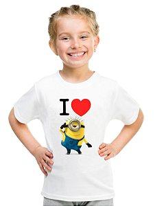 Camiseta Infantil Menina I Love Minion - Personalizadas/ Customizadas/ Estampadas/ Camiseteria/ Estamparia/ Estampar/ Personalizar/ Customizar/ Criar/ Camisa Blusas Baratas Modelos Legais Loja Online