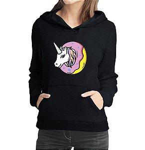 Moletom Feminino Casaco Canguru Unicornio e Donuts - Moletons Personalizados Blusa/ Casacos Baratos/ Blusão/ Jaqueta Canguru