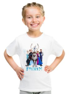 Camiseta Infantil Menina Frozen Desenho - Personalizadas/ Customizadas/ Estampadas/ Camiseteria/ Estamparia/ Estampar/ Personalizar/ Customizar/ Criar/ Camisa Blusas Baratas Modelos Legais Loja Online