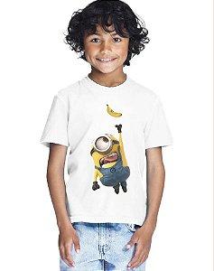 Camiseta Infantil Menino Minion Banana - Personalizadas/ Customizadas/ Estampadas/ Camiseteria/ Estamparia/ Estampar/ Personalizar/ Customizar/ Criar/ Camisa Blusas Baratas Modelos Legais Loja Online
