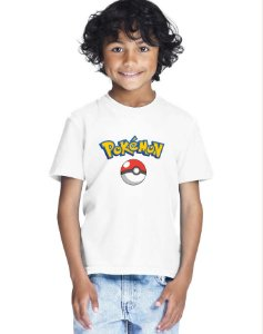 Camiseta Infantil Menino Pokemon - Personalizadas/ Customizadas/ Estampadas/ Camiseteria/ Estamparia/ Estampar/ Personalizar/ Customizar/ Criar/ Camisa Blusas Baratas Modelos Legais Loja Online
