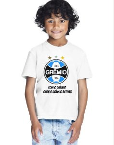 Camiseta Infantil Menino Time Futebol Grêmio - Personalizadas/ Customizadas/ Estampadas/ Camiseteria/ Estamparia/ Estampar/ Personalizar/ Customizar/ Criar/ Camisa Blusas Baratas Modelos Legais Loja Online