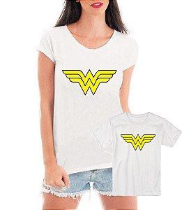 Camisetas Tal Mãe Tal Filha Mulher Maravilha - Personalizadas/ Customizadas/ Estampadas/ Camiseteria/ Estamparia/ Estampar/ Personalizar/ Customizar/ Criar/ Camisa Blusas Baratas Modelos Legais Loja Online