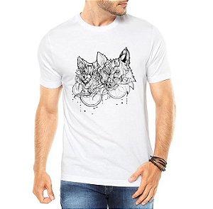 Camiseta Masculina Branca Lobos Tattoo - Personalizadas/ Customizadas/ Estampadas/ Camiseteria/ Estamparia/ Estampar/ Personalizar/ Customizar/ Criar/ Camisa Blusas Baratas Modelos Legais Loja Online
