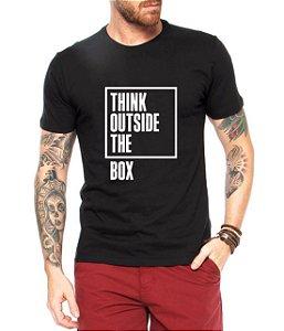 Camiseta Masculina Think Outside The Box - Personalizadas/ Customizadas/ Estampadas/ Camiseteria/ Estamparia/ Estampar/ Personalizar/ Customizar/ Criar/ Camisa Blusas Baratas Modelos Legais Loja Online