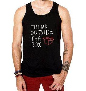 Regata Masculina Think Outside The Box - Personalizadas/ Customizadas/ Estamp  - Personalizadas/ Customizadas/ Estampadas/ Camiseteria/ Estamparia/ Estampar/ Personalizar/ Customizar/ Criar/ Camisa Blusas Baratas Modelos Legais Loja Online