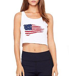 Top Cropped Branco Bandeira Americana Fitness - Modelos Femininos Comprar Online Camiseta Regata Roupa da Moda