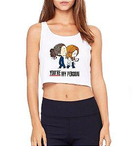 Top Cropped Branco Greys Anatomy My Person Cristina e Meredith - Modelos Femininos Comprar Online Camiseta Regata Roupa da Moda