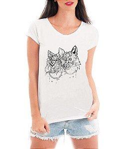 Blusa T-Shirt Feminina Branca Lobo Tattoo - Personalizadas/ Customizadas/ Estampadas/ Camiseteria/ Estamparia/ Estampar/ Personalizar/ Customizar/ Criar/ Camisa Blusas Baratas Modelos Legais Loja Online