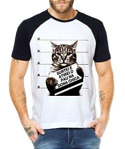 Camiseta Raglan Masculina Dona Chica Gato - Personalizadas/ Customizadas/ Estampadas/ Camiseteria/ Estamparia/ Estampar/ Personalizar/ Customizar/ Criar/ Camisa Blusas Baratas Modelos Legais Loja Online