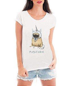 Blusa T-shirt Feminina Branca Pug PugiCorn Unicórnio - Personalizadas/ Customizadas/ Estampadas/ Camiseteria/ Estamparia/ Estampar/ Personalizar/ Customizar/ Criar/ Camisa Blusas Baratas Modelos Legais Loja Online
