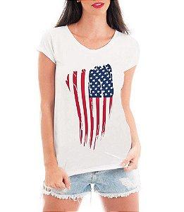 Blusa T-shirt Feminina Bandeira EUA USA - Personalizadas/ Customizadas/ Estampadas/ Camiseteria/ Estamparia/ Estampar/ Personalizar/ Customizar/ Criar/ Camisa Blusas Baratas Modelos Legais Loja Online