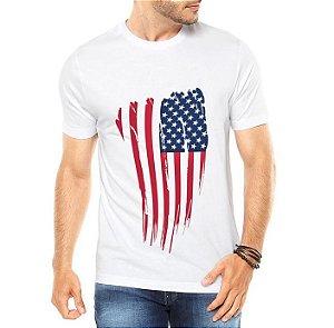 Camiseta Masculina Branca Cinza Bandeira EUA USA - Personalizadas/ Customizadas/ Estampadas/ Camiseteria/ Estamparia/ Estampar/ Personalizar/ Customizar/ Criar/ Camisa Blusas Baratas Modelos Legais Loja Online