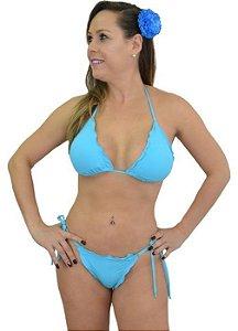 Biquíni Pico Ripple Azul Fio Dental Azul Piscina Cortininha Feminino Bikinis Baratos e Estilosos