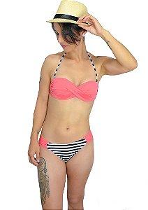 Biquíni Borboleta Vintage Listrado Feminino Bikinis Baratos e Estilosos
