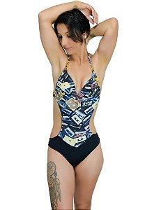 Maiô Bohemia Vintage Retrô Toca Fitas Feminino Bikinis Baratos e Estilosos Sunquini Biquíni Roupa de Praia