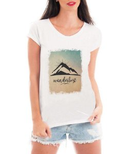 Camiseta Tshirt Blusa Feminina Wanderlust Viagem Travel- Personalizada/ Estampadas/ Camiseteria/ Estamparia/ Estampar/ Personalizar/ Customizar/ Criar/ Camisa T-shirts Blusas Baratas Modelos Legais Loja Online