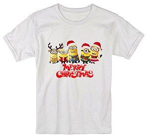 Camiseta Infantil Branca Natal Ano Novo Minions Réveillon - Personalizadas/ Customizadas/ Estampadas/ Camiseteria/ Estamparia/ Estampar/ Personalizar/ Customizar/ Criar/ Camisa Blusas Baratas Modelos Legais Loja Online