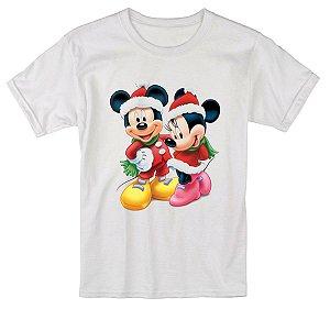 Camiseta Infantil Branca Natal Ano Novo Mickey e Minnie Réveillon - Personalizadas/ Customizadas/ Estampadas/ Camiseteria/ Estamparia/ Estampar/ Personalizar/ Customizar/ Criar/ Camisa Blusas Baratas Modelos Legais Loja Online