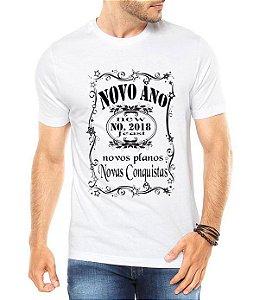 Camiseta Masculina Ano Novo 2018 Réveillon Jack Daniels Branca - Personalizadas/ Customizadas/ Estampadas/ Camiseteria/ Estamparia/ Estampar/ Personalizar/ Customizar/ Criar/ Camisa Blusas Baratas Modelos Legais Loja Online