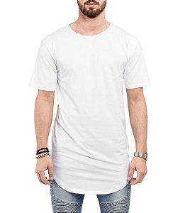 Camiseta Long Line Oversized Masculina Branca Lisa Básica Barra Curvada - Camisetas Camiseteria Estamparia Camisa Blusas Baratas Modelos Legais Loja Online