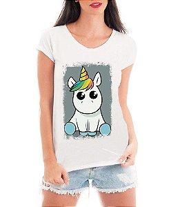 Camiseta Feminina Tshirt Blusa Feminina Unicórnio Fofinho  - Personalizada/ Estampadas/ Camiseteria/ Estamparia/ Estampar/ Personalizar/ Customizar/ Criar/ Camisa T-shirts Blusas Baratas Modelos Legais Loja Online
