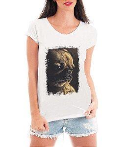 Camiseta Feminina Tshirt Blusa Feminina Pug Triste  - Personalizada/ Estampadas/ Camiseteria/ Estamparia/ Estampar/ Personalizar/ Customizar/ Criar/ Camisa T-shirts Blusas Baratas Modelos Legais Loja Online