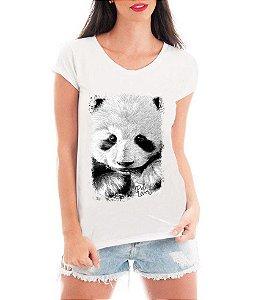Camiseta Feminina Tshirt Blusa Feminina Panda Fofo - Personalizada/ Estampadas/ Camiseteria/ Estamparia/ Estampar/ Personalizar/ Customizar/ Criar/ Camisa T-shirts Blusas Baratas Modelos Legais Loja Online