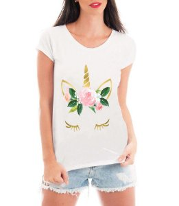 Camiseta Feminina Tshirt Blusa Feminina Unicórnio Cílios  - Personalizada/ Estampadas/ Camiseteria/ Estamparia/ Estampar/ Personalizar/ Customizar/ Criar/ Camisa T-shirts Blusas Baratas Modelos Legais Loja Online