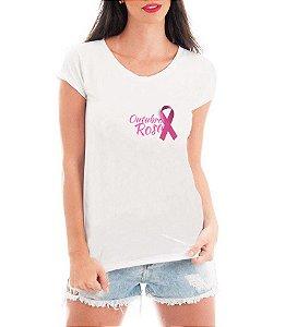 Camiseta Feminina Tshirt Blusa Feminina Outubro Rosa Contra o Câncer de Mama - Personalizada/ Estampadas/ Camiseteria/ Estamparia/ Estampar/ Personalizar/ Customizar/ Criar/ Camisa T-shirts Blusas Baratas Modelos Legais Loja Online