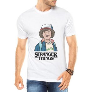 Camiseta Masculina Branca Cinza Stranger Things Dustin - Personalizadas/ Customizadas/ Estampadas/ Camiseteria/ Estamparia/ Estampar/ Personalizar/ Customizar/ Criar/ Camisa Blusas Baratas Modelos Legais Loja Online