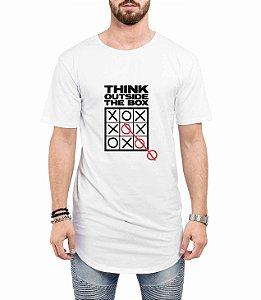 Camiseta Long Line Oversized Masculina Pense Fora da Caixa Camisetas Barra Curvada - Camisetas Personalizadas/ Customizadas/ Estampadas/ Camiseteria/ Estamparia/ Estampar/ Personalizar/ Customizar/ Criar/ Camisa Barata  Loja Online