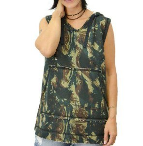 Colete Moletom Feminino Camuflado Verde Militar Cinza -  Capuz - Blusa/ Casacos Baratos/ Blusão/ Colete
