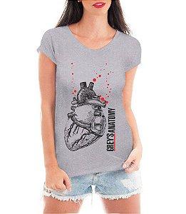 Blusa Feminina Grey's Anatomy Coração Camiseta - Personalizadas/ Customizadas/ Estampadas/ Camiseteria/ Estamparia/ Estampar/ Personalizar/ Customizar/ Criar/ Camisa Blusas Baratas Modelos Legais Loja Online