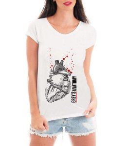 Blusa Feminina Branca Grey's Anatomy Coração Camiseta - Personalizadas/ Customizadas/ Estampadas/ Camiseteria/ Estamparia/ Estampar/ Personalizar/ Customizar/ Criar/ Camisa Blusas Baratas Modelos Legais Loja Online