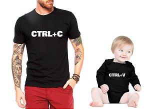 Camiseta Masculina e Body Infanti Tal Pai tal filho filha Ctrl + C Ctrl + V 4c60fcbb9d77d