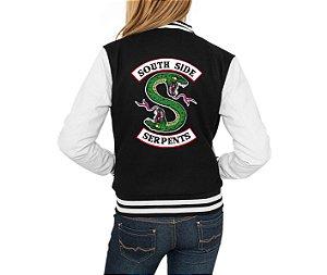 Jaqueta College Feminina Riverdale South Side Serpents Séries Seriados Serpentes do Sul - Jaquetas Colegial Americana Universitária Baseball Casacos Blusa Blusão Baratos Loja Online