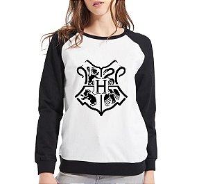 Moletom Feminino Preto Branco Raglan Hogwarts Harry Potter Blusa Casaco - Moletons Personalizados Blusa/ Casacos Baratos/ Blusão/ Blusa de Frio