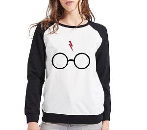 Moletom Feminino Preto Branco Raglan Óculos Cicatriz Harry Potter Blusa Casaco - Moletons Personalizados Blusa/ Casacos Baratos/ Blusão/ Blusa de Frio