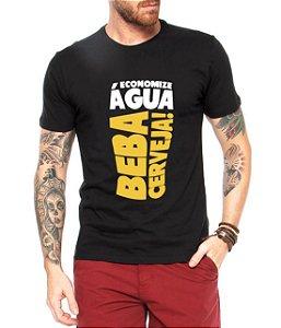 Camiseta Masculina Preta Beba Cerveja  - Personalizadas/ Customizadas/ Estampadas/ Camiseteria/ Estamparia/ Estampar/ Personalizar/ Customizar/ Criar/ Camisa Blusas Baratas Modelos Legais Loja Online
