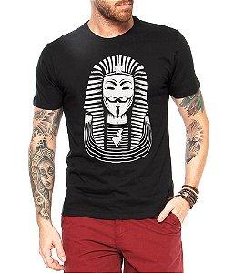 Camiseta Masculina Anonymus Faraó - Personalizadas/ Customizadas/ Estampadas/ Camiseteria/ Estamparia/ Estampar/ Personalizar/ Customizar/ Criar/ Camisa Blusas Baratas Modelos Legais Loja Online